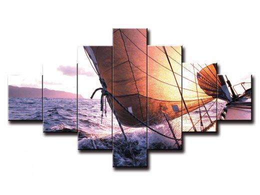 7 dielny obraz na stenu loď na mori
