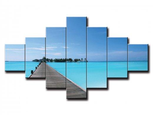 7 dielny obraz na stenu pláž s ostrovom
