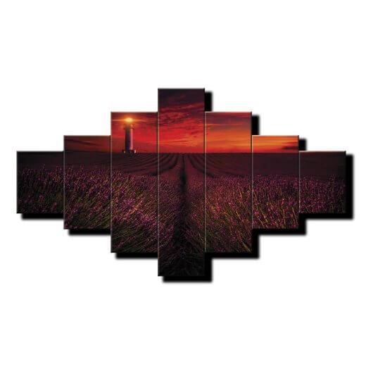 7 dielny obraz na stenu Levandulové pole pri západe slnka