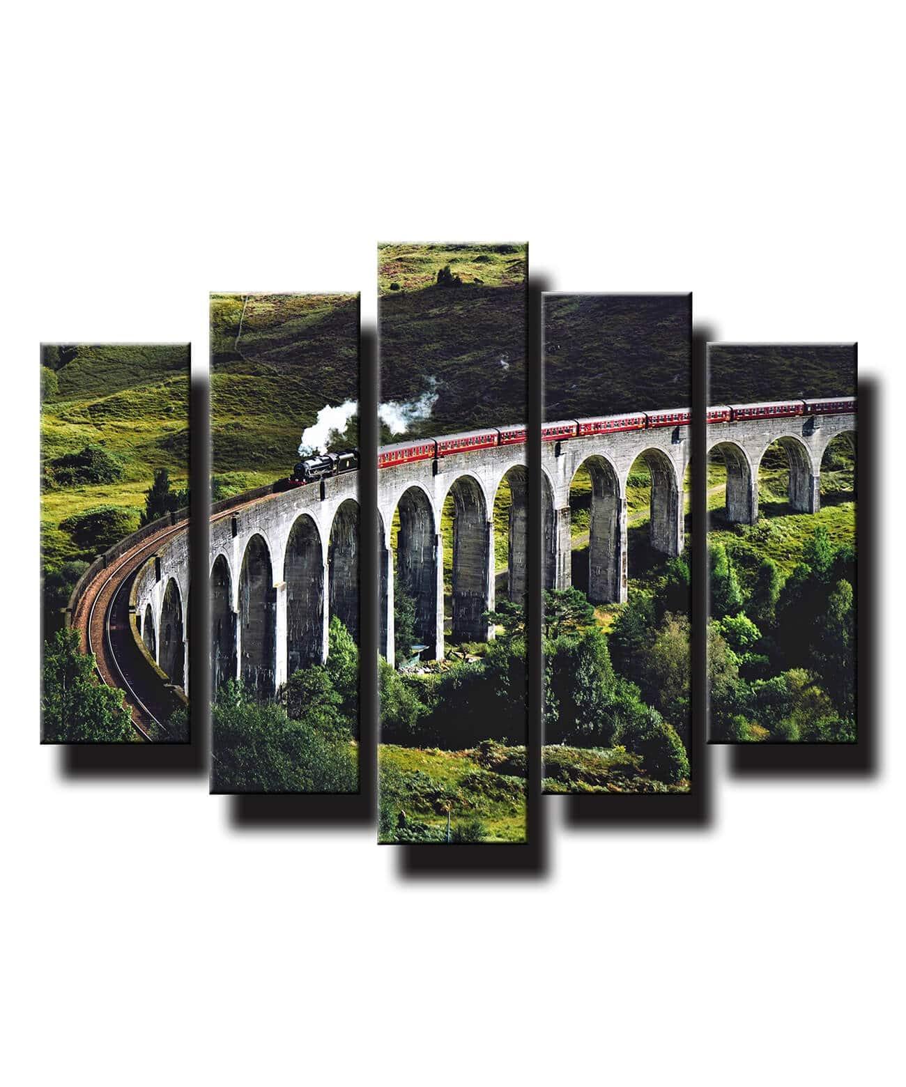 5 dielny obraz na stenu Vlak na moste